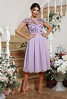 Вечернее легкое платье миди с шифоновой юбкой верх из сетки с вышивкой лавандовое