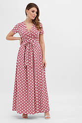 Длинное летнее платье на запах в белый горох розовое