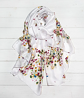 Шелковый шарф Кларисса, 180*90 см, белый, фото 1