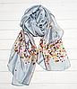 Шелковый шарф Кларисса, 180*90 см, светло-серый