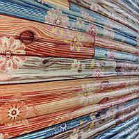 3д панель декоративна Бамбук Квіти (пластикові самоклеючі 3d панелі під дерево на стіни) 700x700x8 мм