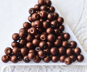 Бусины жемчужные 6мм, стекло, 20 шт шоколадные матовые