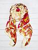 Шовковий шарф Кароліна, 180*90 см, ваніль/червоний