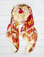Шовковий шарф Кароліна, 180*90 см, ваніль/червоний, фото 1