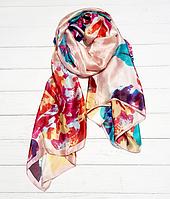 Шовковий шарф Кароліна, 180*90 см, пудровий/бірюза, фото 1