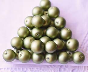 Бусины жемчужные 10мм, стекло, 5 шт оливковые