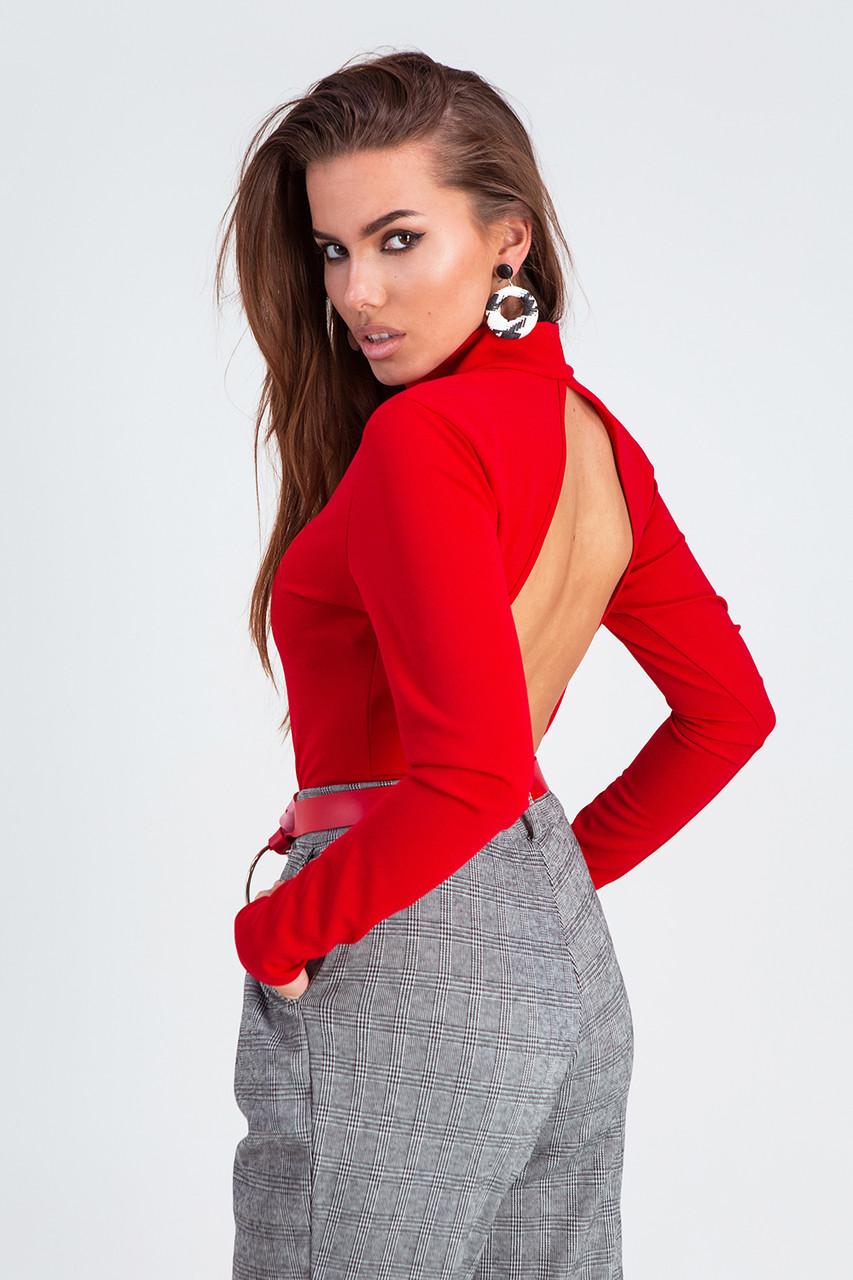 Красное женское боди на кнопках с длинными рукавами