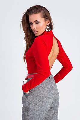 Червона жіноча боді на кнопках з довгими рукавами