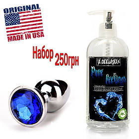 Гель-смазка без аромата + анальная пробка с кристаллом лубрикант универсальный на водной основе