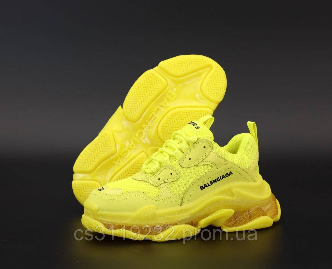 Женские кроссовки Balenciaga Triple S Full Yellow (желтый)