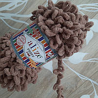 Турецкая фантазийная пряжа Puffy fine Alize молочно коричневый 329