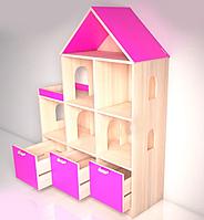 Стеллаж «Мечта макси» с ящиками Design Service (В*Ш*Г) 1500*1200*350мм бук/розовый