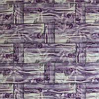 3д панель декоративна Бамбукова кладка Фіолет (самоклеючі пластикові панелі 3d під бамбук) 700x700x8 мм