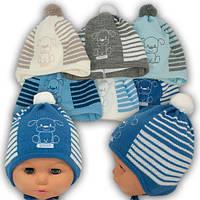 Шапка для новорожденных на завязках Весна-Осень 36-38 Люкс Польша