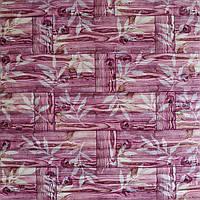3д панель декоративна Бамбукова кладка Рожева (самоклеючі пластикові панелі 3d під бамбук) 700x700x8 мм