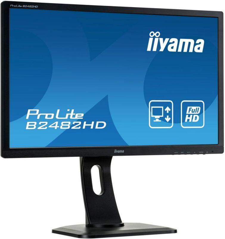 """Монитор 24"""" Iiyama B2482HD-B1 черный TN LCD 5ms 16:9 250cd VGA DVI Tilt"""