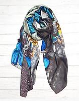 Шелковый шарф Кармелия, 180*90 см, серый
