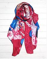 Шелковый шарф Кармелия, 180*90 см, малиновый