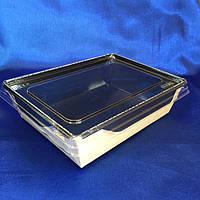 Бумажный Контейнер для еды чёрный крафт на вынос 500мл +прозрачная крышка плоская