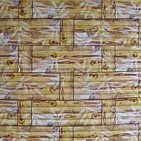 3д панель декоративна Бамбукова кладка Жовта (самоклеючі пластикові панелі 3d під бамбук) 700x700x8 мм