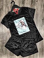 Пижама Billie Eilish 609 , велюровый комплект футболка и шорты.