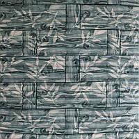 3д панель декоративна Бамбукова кладка Сірий пластикові панелі 3d під бамбук 700x700x8 мм