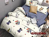 Набор постельного на полуторную кровать из бязи Голд собачки №164201АВ