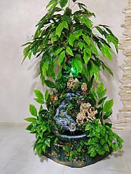 Кутовий фонтан ручної роботи, для кімнатного затишку з замком та деревами