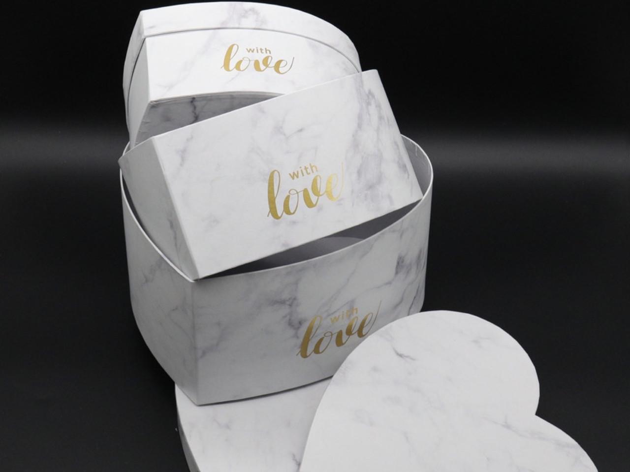 Коробка подарочная сердце. Три шт/комплект. Цвет белый. 25х25х12см