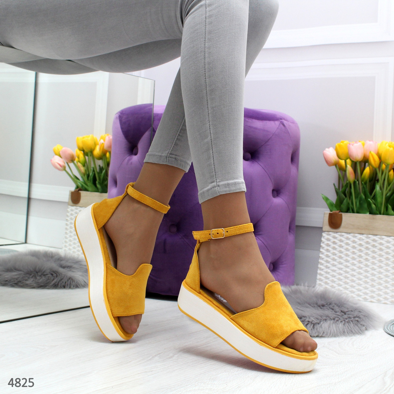 Босоножки сандалии женские желтые на платформе с ремешком и закрытой пяткой Felice