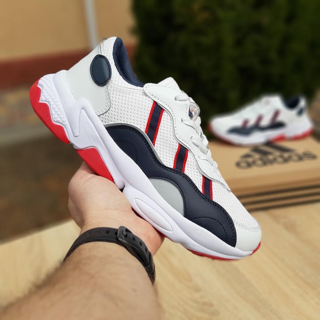 Мужские кожаные кроссовки Adidas OZWEEGO (бело-синие с красным) 10038