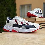 Мужские кожаные кроссовки Adidas OZWEEGO (бело-синие с красным) 10038, фото 2