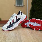 Мужские кожаные кроссовки Adidas OZWEEGO (бело-синие с красным) 10038, фото 4