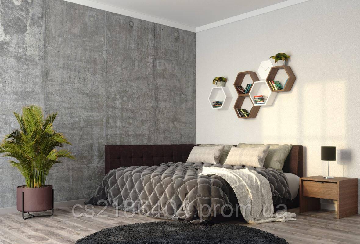 Двоспальне ліжко з м*яким билом у тканині корочневий велюр 160х200Шик Галичина   Лео