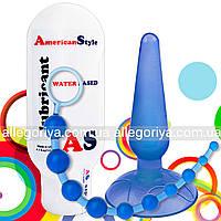 Анальная пробка на присоске + Анальная цепочка бусы + Смазка с антисептиком + Набор анальных игрушек | сексшоп
