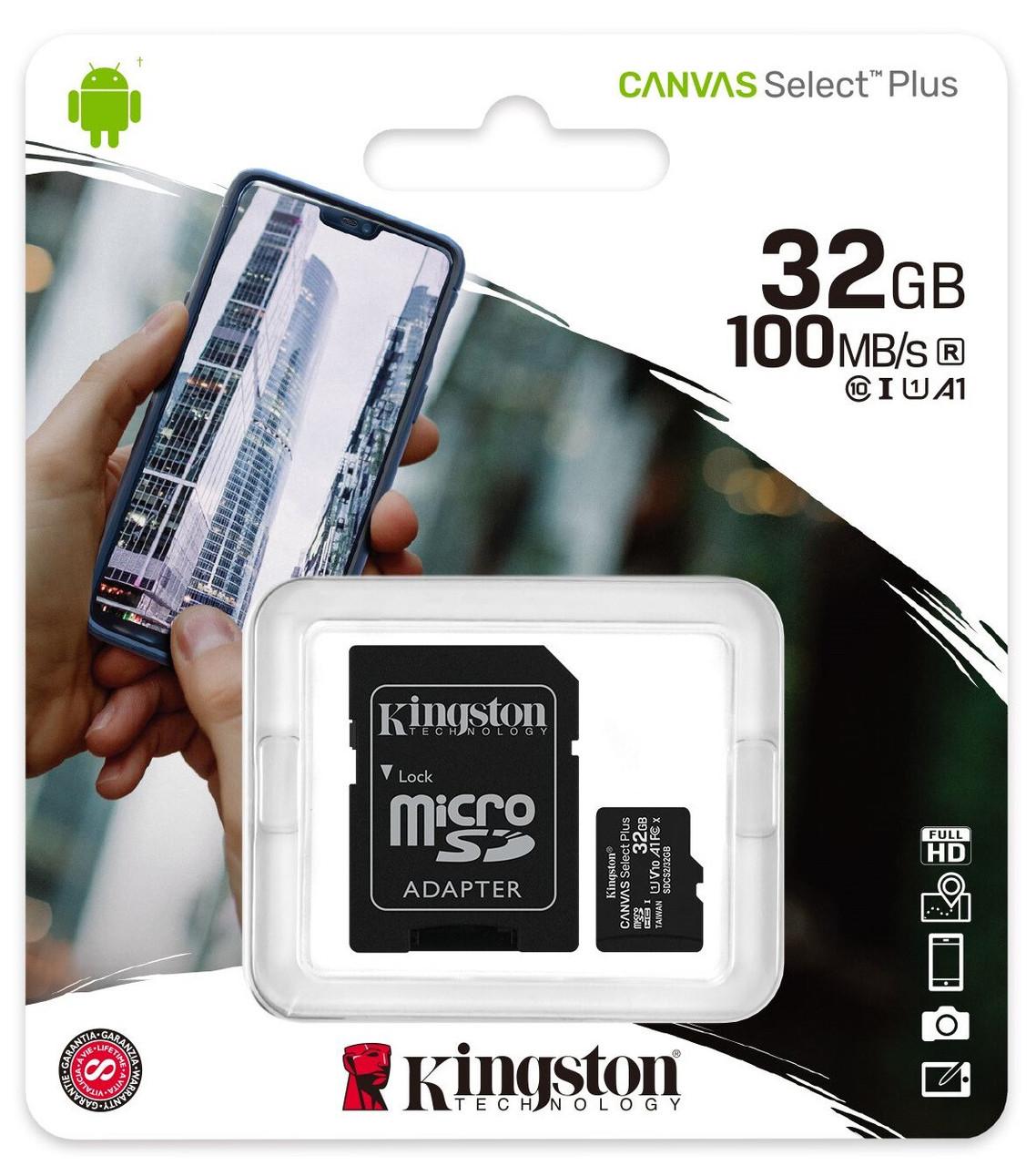 Карта пам'яті Kingston microSDHC 32GB Canvas Select Plus Class 10 UHS-I U1 V10 A1 + SD адаптер (SDCS2/32GB)