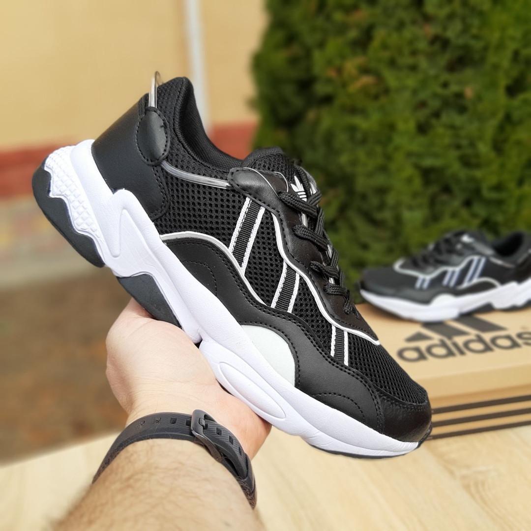 Мужские кожаные кроссовки Adidas OZWEEGO (черно-белые) 10039