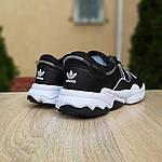 Мужские кожаные кроссовки Adidas OZWEEGO (черно-белые) 10039, фото 4