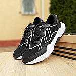 Мужские кожаные кроссовки Adidas OZWEEGO (черно-белые) 10039, фото 3