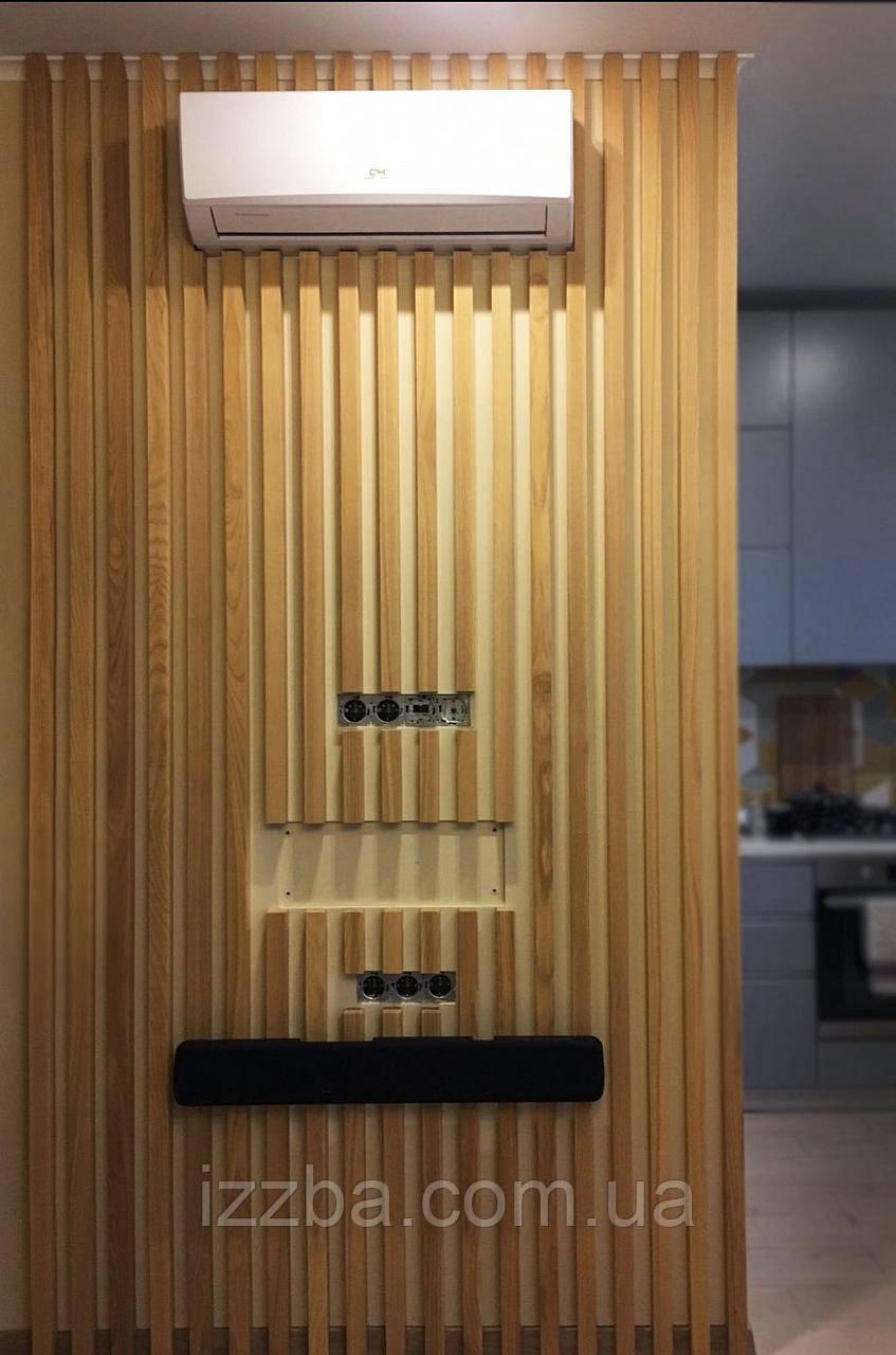 Декор стен рейками  из натурального дерева в интерьере
