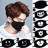 Маска на лицо тканевая чёрная защитная многоразовая смайлик, череп, медведь, мордочки животных K-pop 001