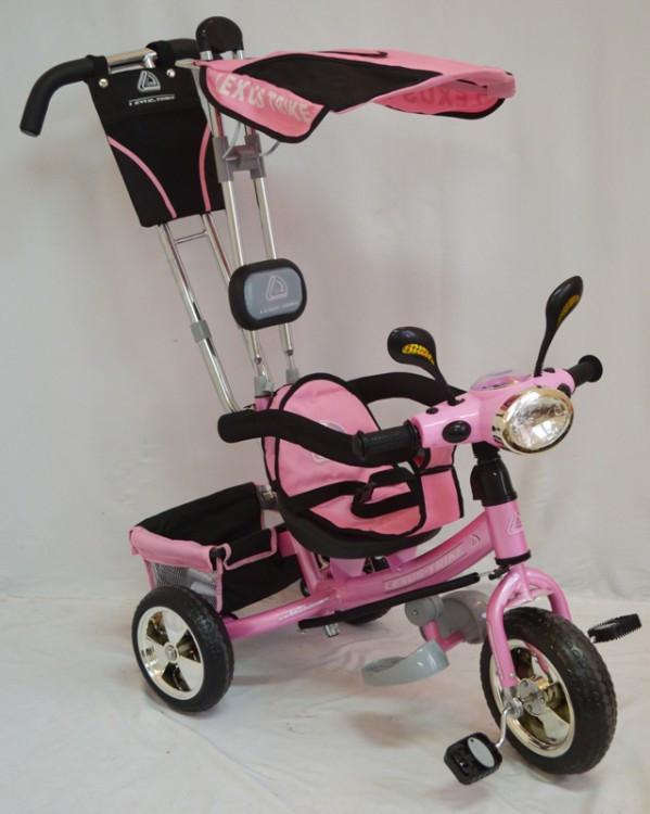 Велосипед трехколесный с родительской ручкой Розовий WS862EW-M (светящаяся фара) Колеса Пена 12\10
