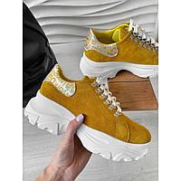 Замшевые желтые женские кроссовки, ботинки на толстой подошве 39, 40