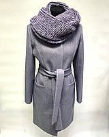 Стильное женское пальто с хомутом приталенное