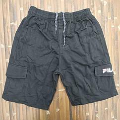 Трикотажные шорты удлинённые норма х/б 46-54 черные F МТ-140138