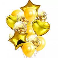 Набор воздушных и фольгированных шаров с конфетти золото (14 шт. в уп.)