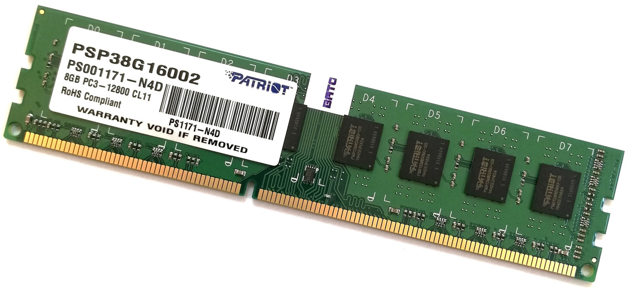 Оперативная память Patriot DDR3 8Gb 1600MHz PC3 12800U 2R8 CL11 (PSP38G16002) Б/У