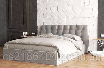 Дерев*яне двоспальне ліжко у тканині сірий велюр Шик Галичина Еліо