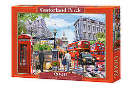"""Пазлы """"Лондон"""", 2000 эл (городской пейзаж, город, страны, красный автобус, англия, лондонские улицы)"""
