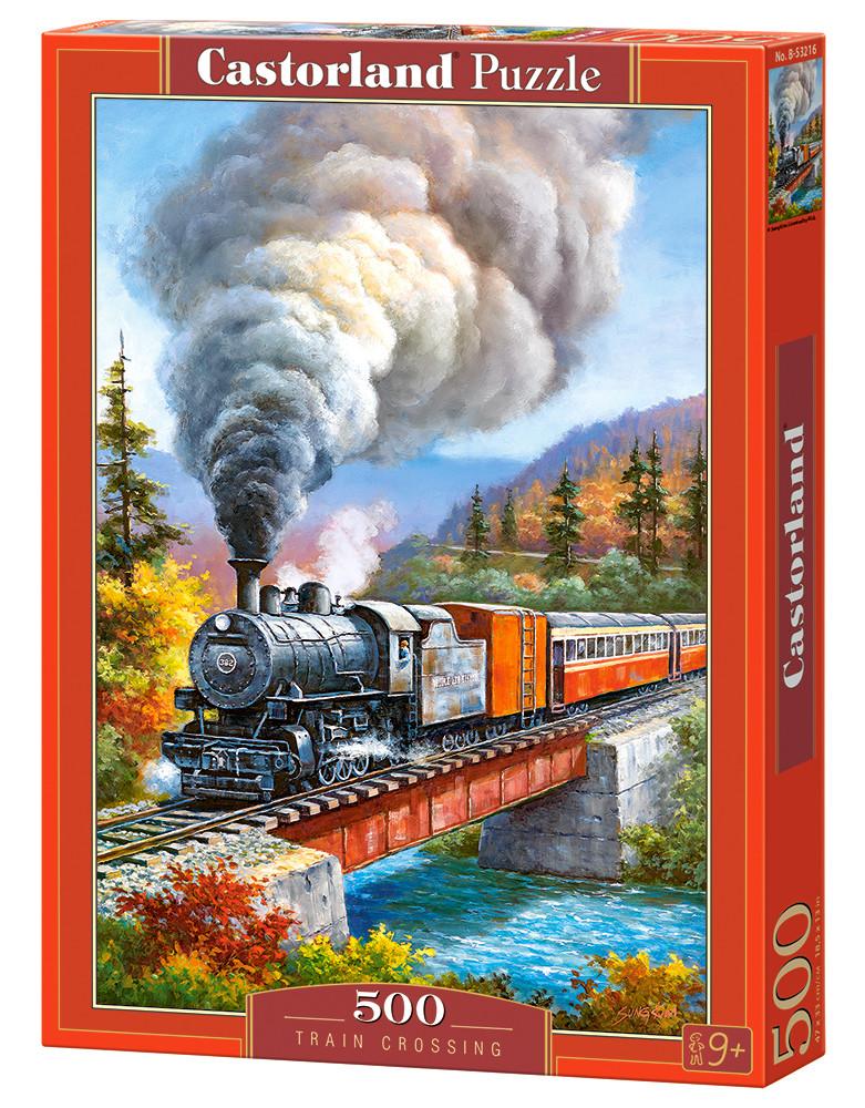 """Пазлы """"Старинный поезд"""", 500 элементов (с природой, пейзаж, с пейзажем, природа, поезд, железная дорога, жд,"""